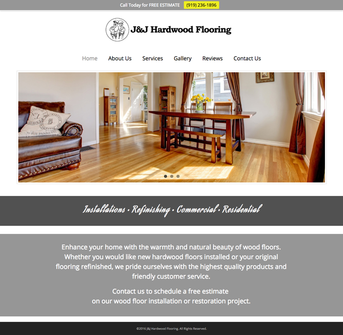 J&J Hardwood Web Screenshot