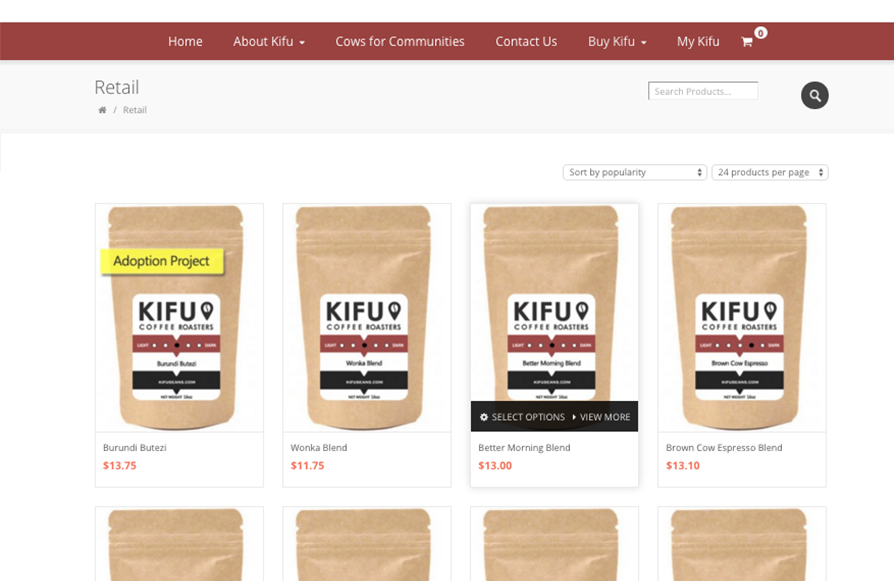 Kifu Coffee Roasters web page\