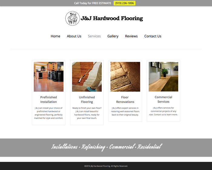 J&J Hardwood Web Screenshot