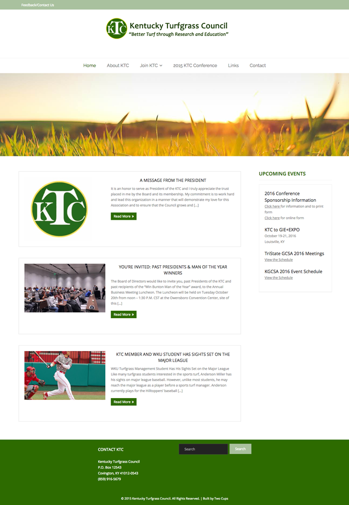 KY Turfgrass Council Web Screenshot